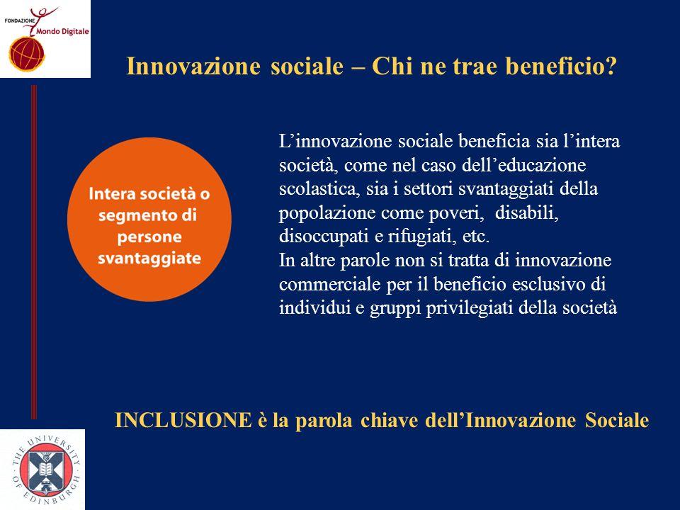 Innovazione sociale – Chi ne trae beneficio