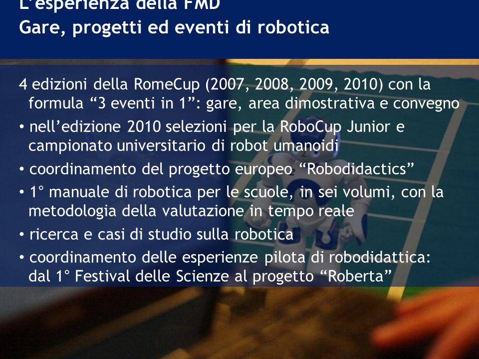 L'esperienza della FMD Gare, progetti ed eventi di robotica