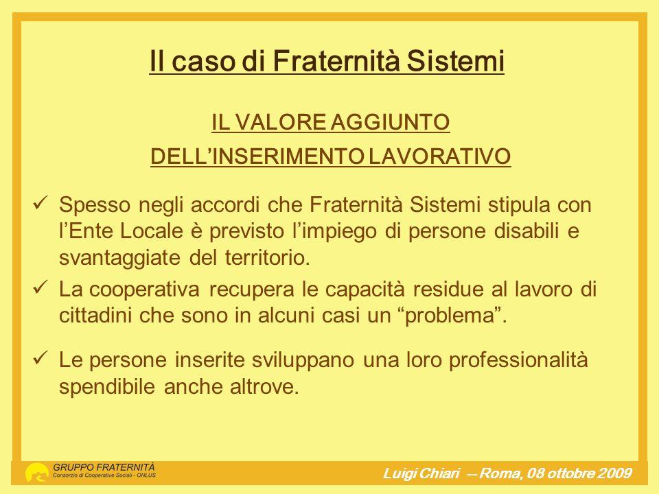 Il caso di Fraternità Sistemi DELL'INSERIMENTO LAVORATIVO