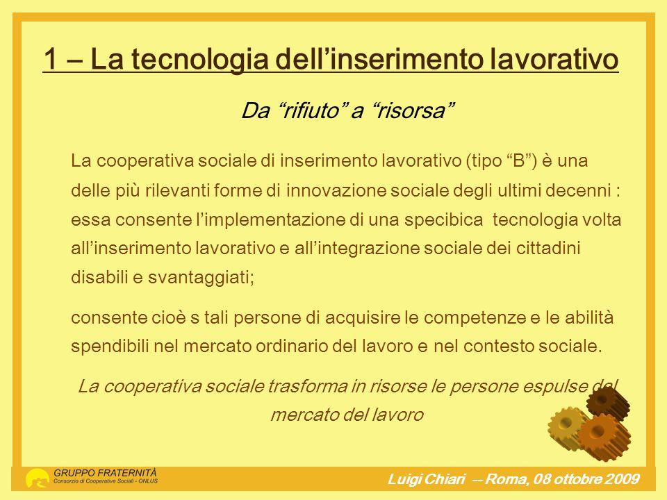 1 – La tecnologia dell'inserimento lavorativo
