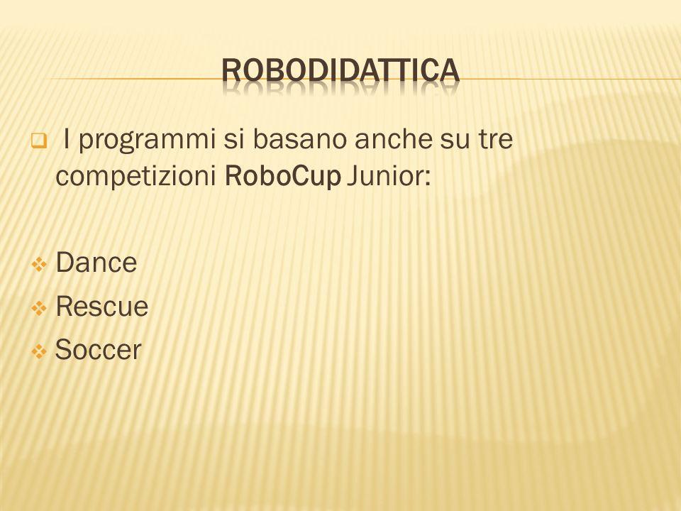 Robodidattica I programmi si basano anche su tre competizioni RoboCup Junior: Dance Rescue Soccer