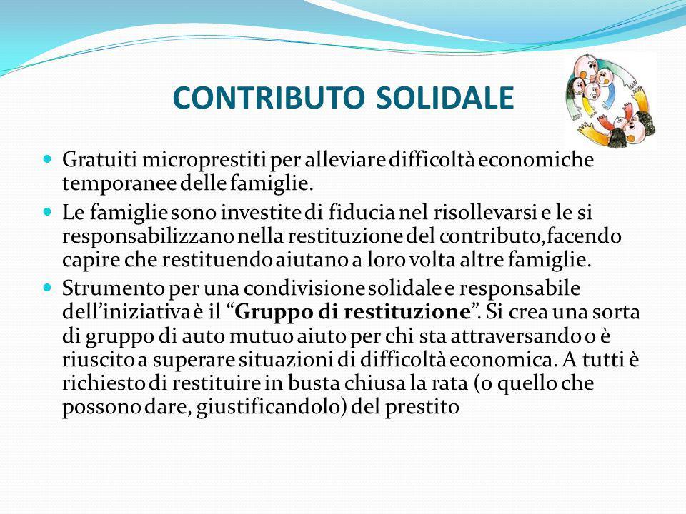 CONTRIBUTO SOLIDALEGratuiti microprestiti per alleviare difficoltà economiche temporanee delle famiglie.