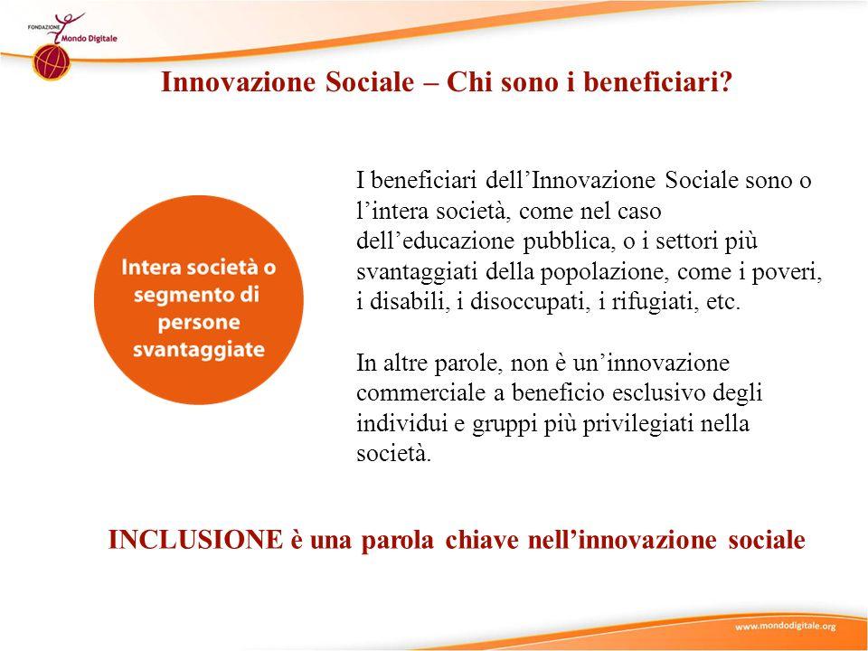 Innovazione Sociale – Chi sono i beneficiari