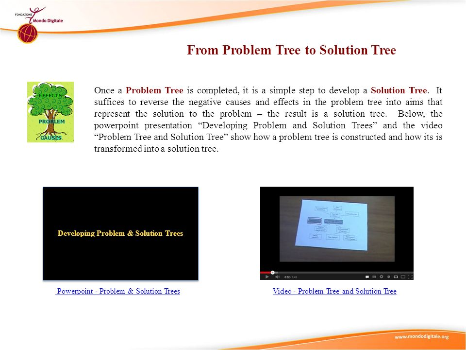 From Problem Tree to Solution Tree Developing Problem & Solution Trees