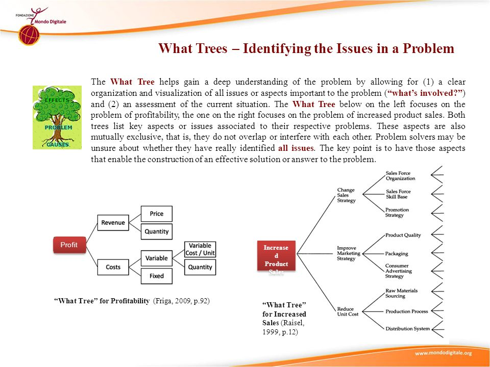 What Trees – Identifying the Issues in a Problem