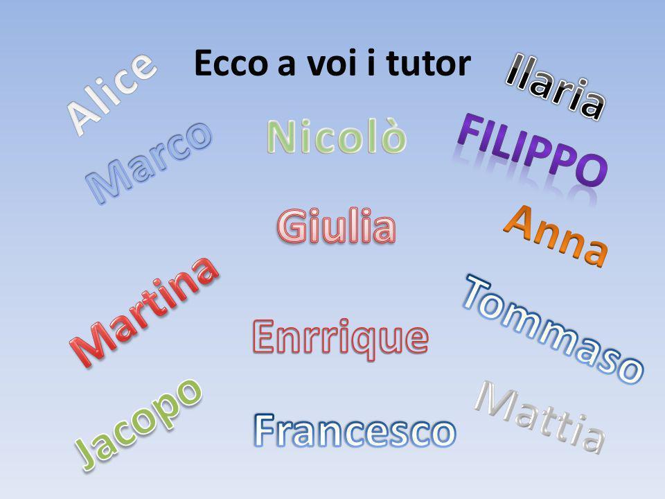 Alice Ilaria Nicolò Filippo Marco Giulia Anna Martina Tommaso Enrrique