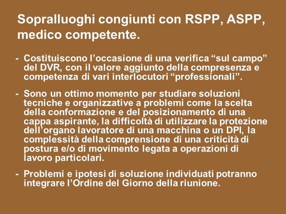 Sopralluoghi congiunti con RSPP, ASPP, medico competente.