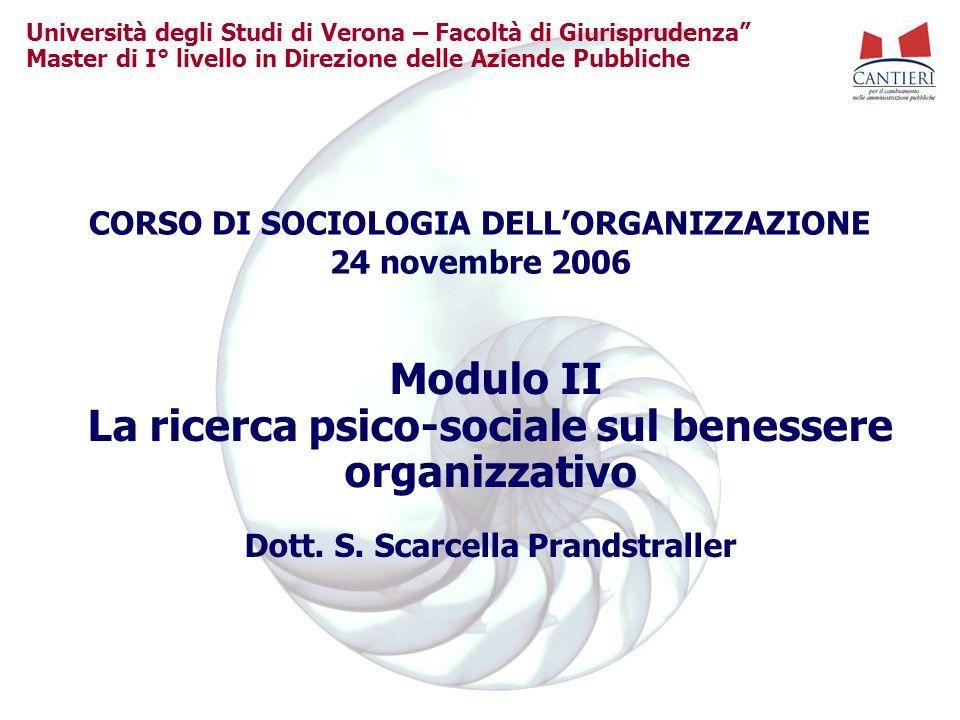 Modulo II La ricerca psico-sociale sul benessere organizzativo