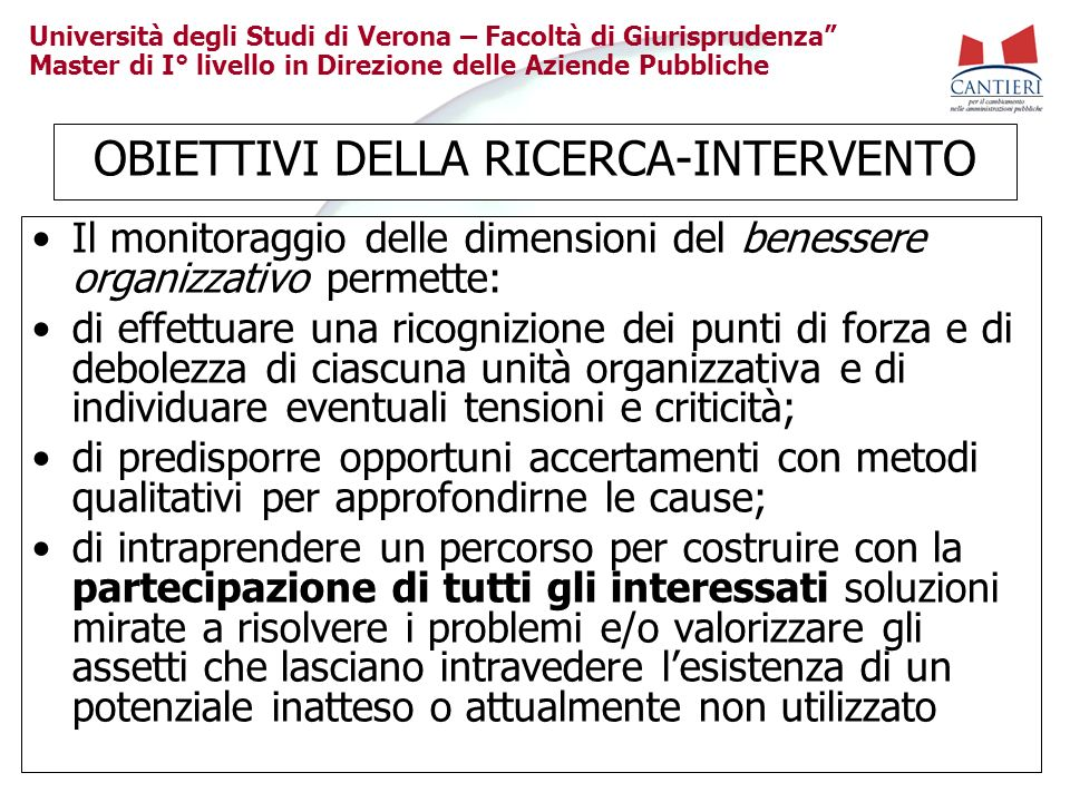 OBIETTIVI DELLA RICERCA-INTERVENTO