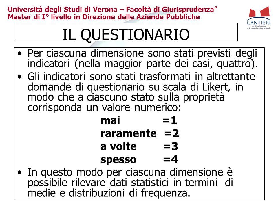 IL QUESTIONARIO Per ciascuna dimensione sono stati previsti degli indicatori (nella maggior parte dei casi, quattro).