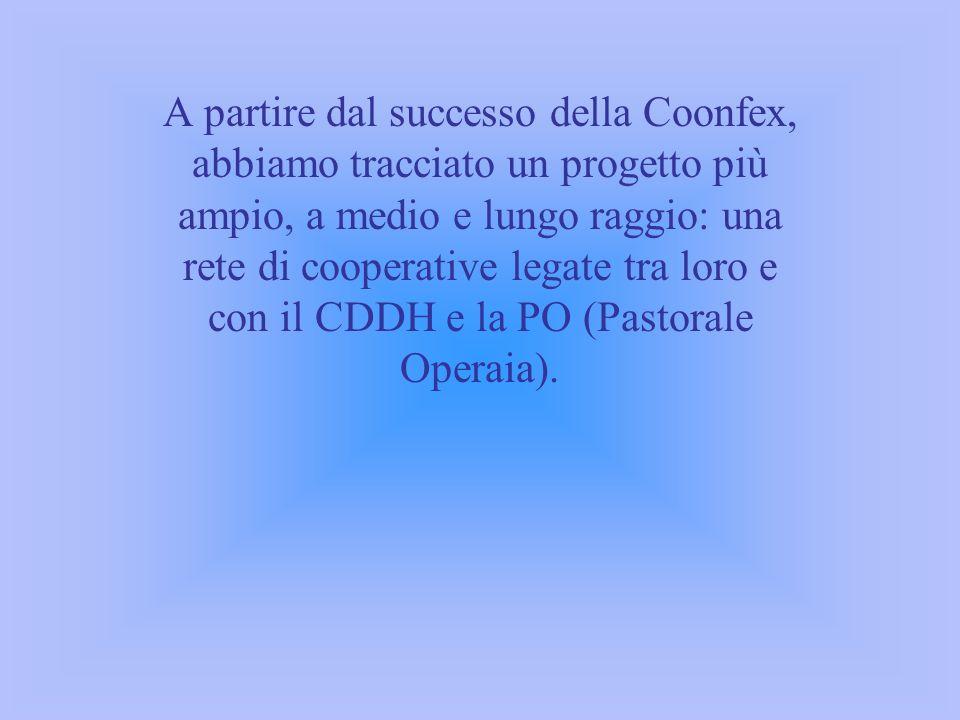 A partire dal successo della Coonfex, abbiamo tracciato un progetto più ampio, a medio e lungo raggio: una rete di cooperative legate tra loro e con il CDDH e la PO (Pastorale Operaia).