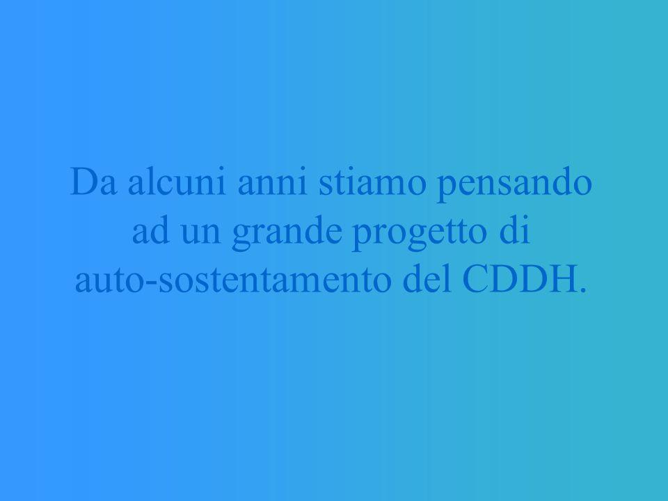 Da alcuni anni stiamo pensando ad un grande progetto di auto-sostentamento del CDDH.