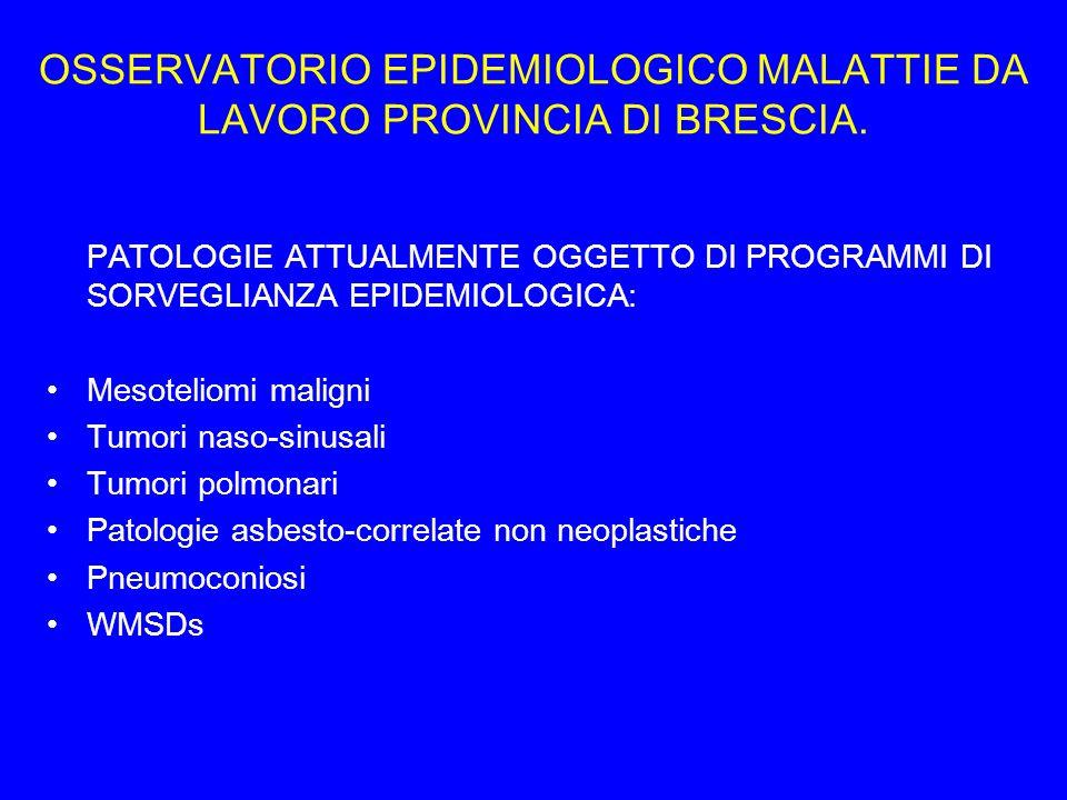 OSSERVATORIO EPIDEMIOLOGICO MALATTIE DA LAVORO PROVINCIA DI BRESCIA.