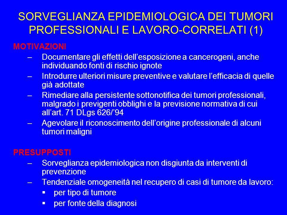 SORVEGLIANZA EPIDEMIOLOGICA DEI TUMORI PROFESSIONALI E LAVORO-CORRELATI (1)