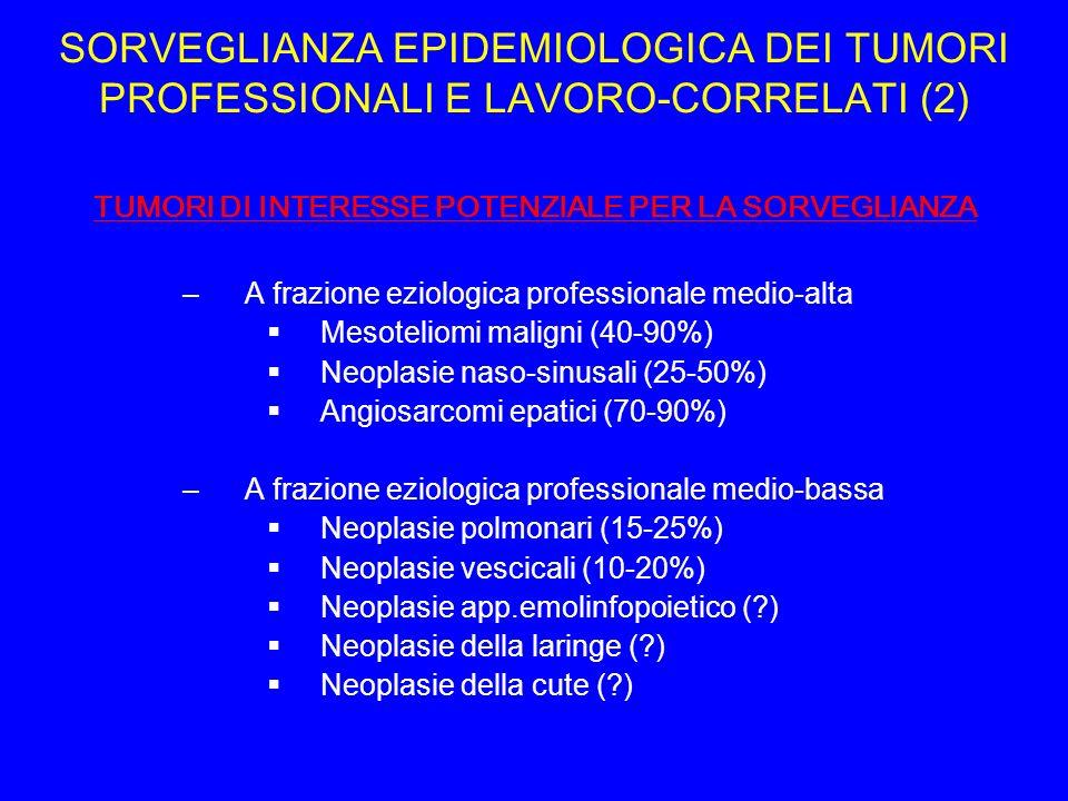 SORVEGLIANZA EPIDEMIOLOGICA DEI TUMORI PROFESSIONALI E LAVORO-CORRELATI (2)