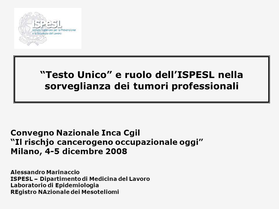 Testo Unico e ruolo dell'ISPESL nella sorveglianza dei tumori professionali