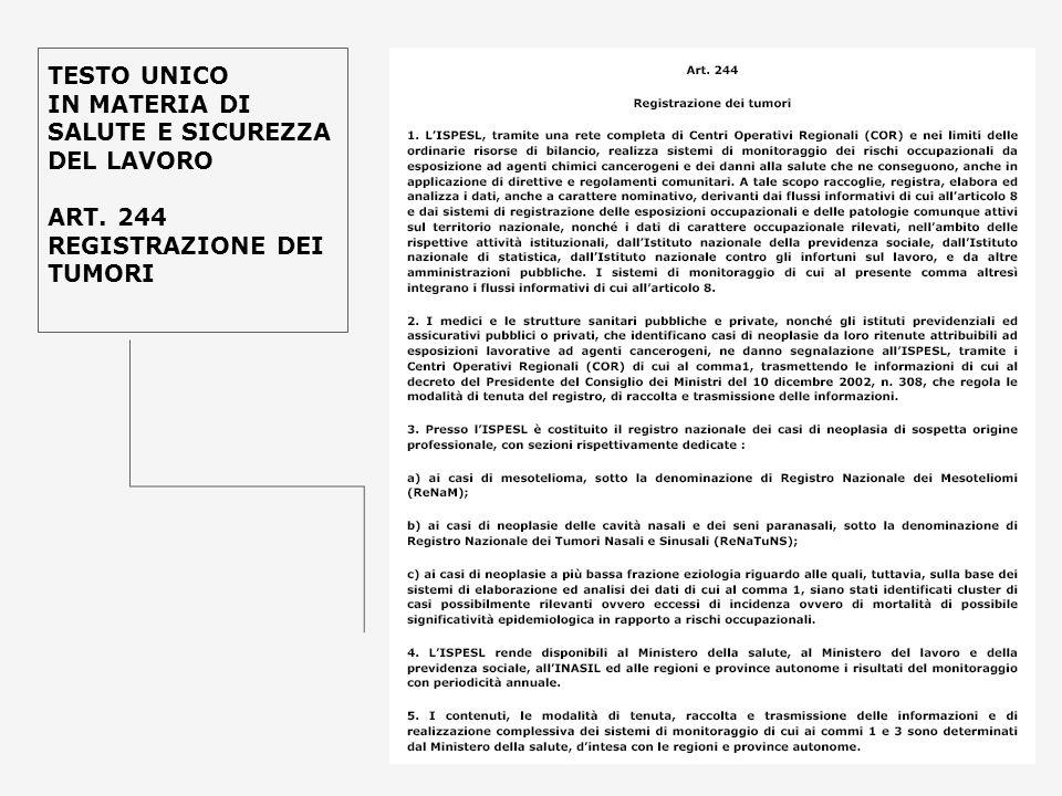 TESTO UNICO IN MATERIA DI SALUTE E SICUREZZA DEL LAVORO ART. 244 REGISTRAZIONE DEI TUMORI