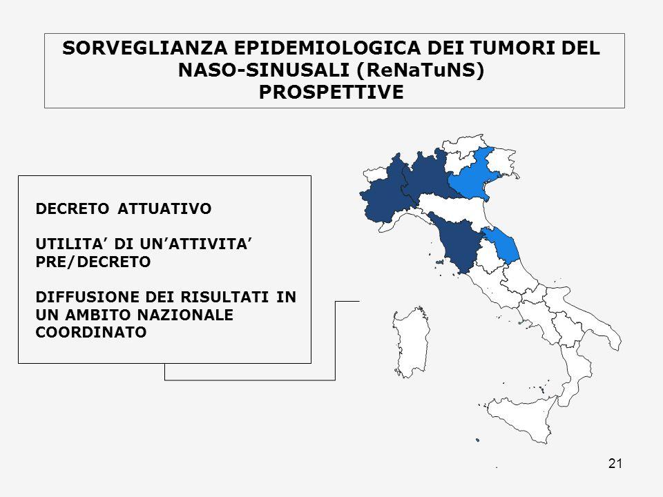 SORVEGLIANZA EPIDEMIOLOGICA DEI TUMORI DEL NASO-SINUSALI (ReNaTuNS)