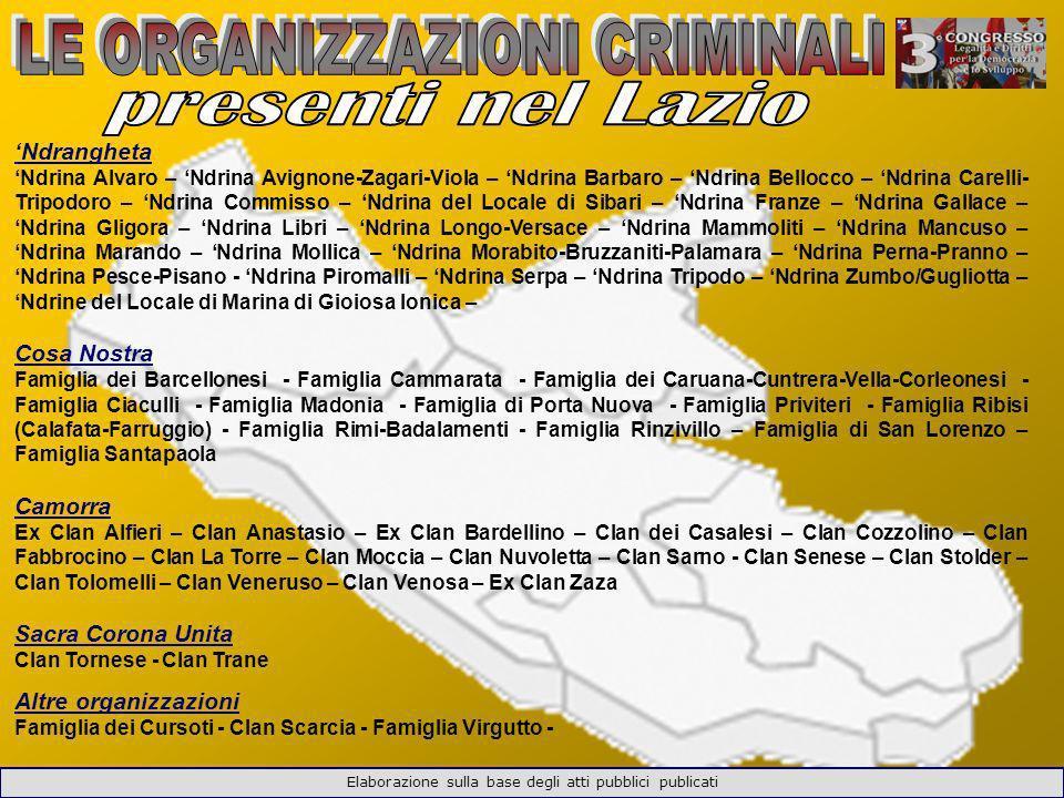 LE ORGANIZZAZIONI CRIMINALI presenti nel Lazio