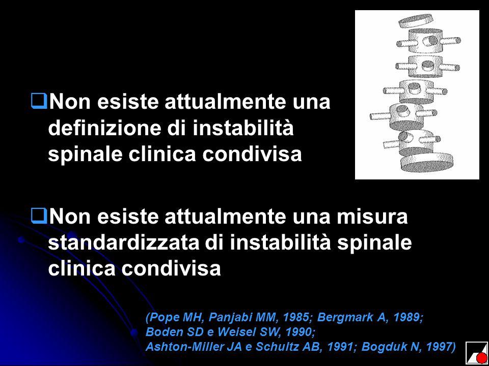 Non esiste attualmente una definizione di instabilità spinale clinica condivisa