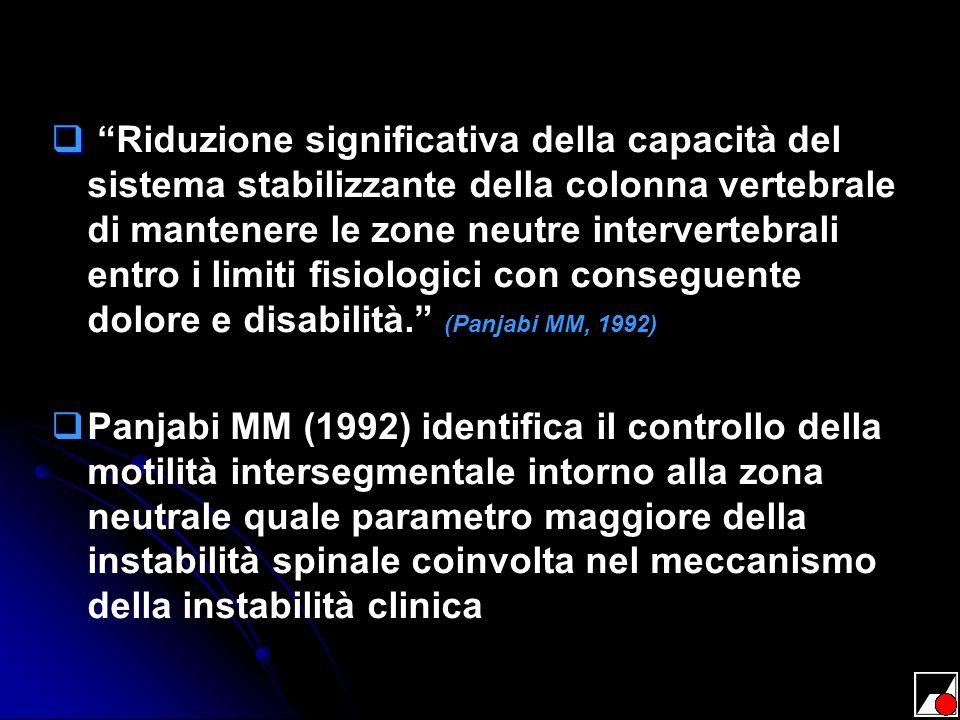 Riduzione significativa della capacità del sistema stabilizzante della colonna vertebrale di mantenere le zone neutre intervertebrali entro i limiti fisiologici con conseguente dolore e disabilità. (Panjabi MM, 1992)