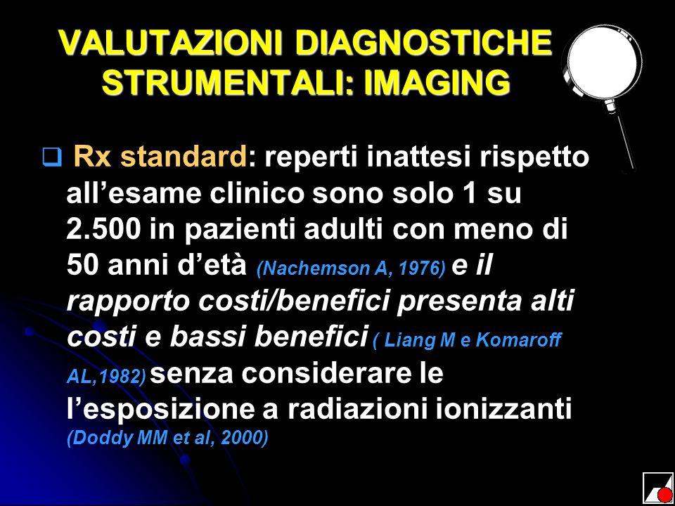 VALUTAZIONI DIAGNOSTICHE STRUMENTALI: IMAGING