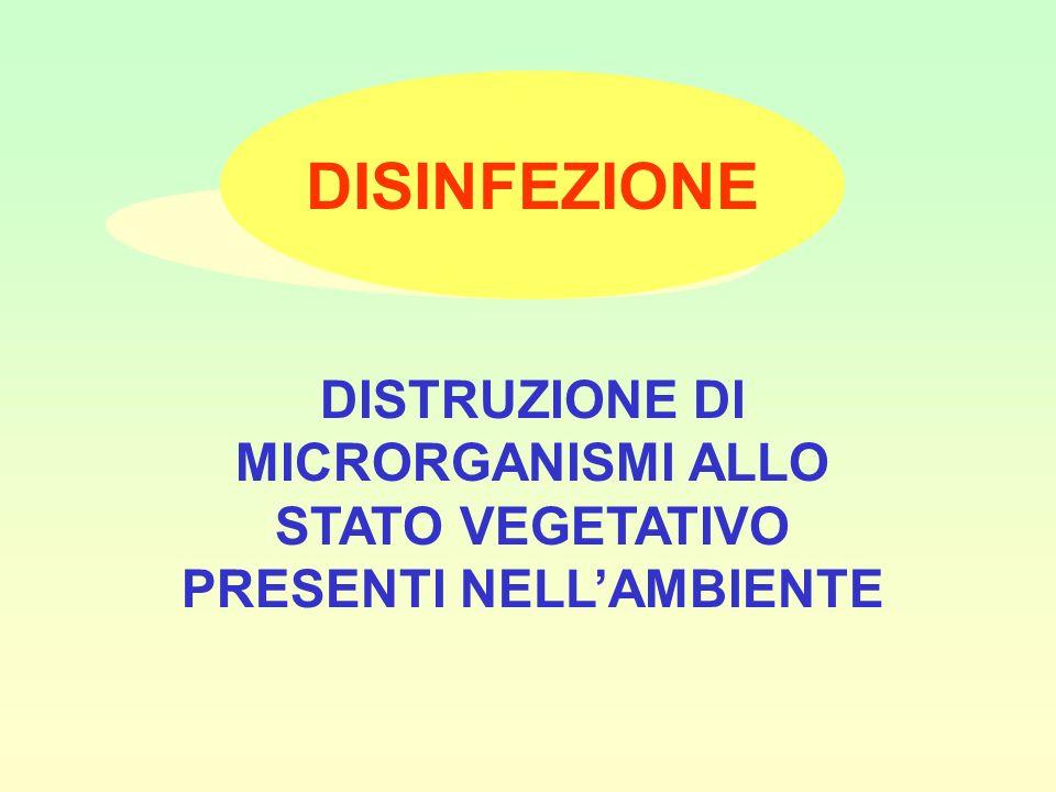 DISINFEZIONE DISTRUZIONE DI MICRORGANISMI ALLO STATO VEGETATIVO PRESENTI NELL'AMBIENTE