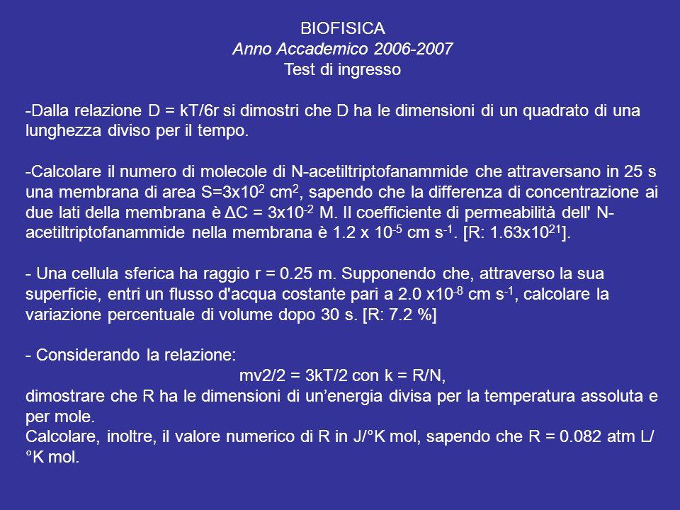 BIOFISICA Anno Accademico 2006-2007. Test di ingresso.