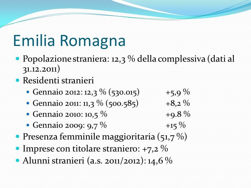 Emilia Romagna Popolazione straniera: 12,3 % della complessiva (dati al 31.12.2011) Residenti stranieri.