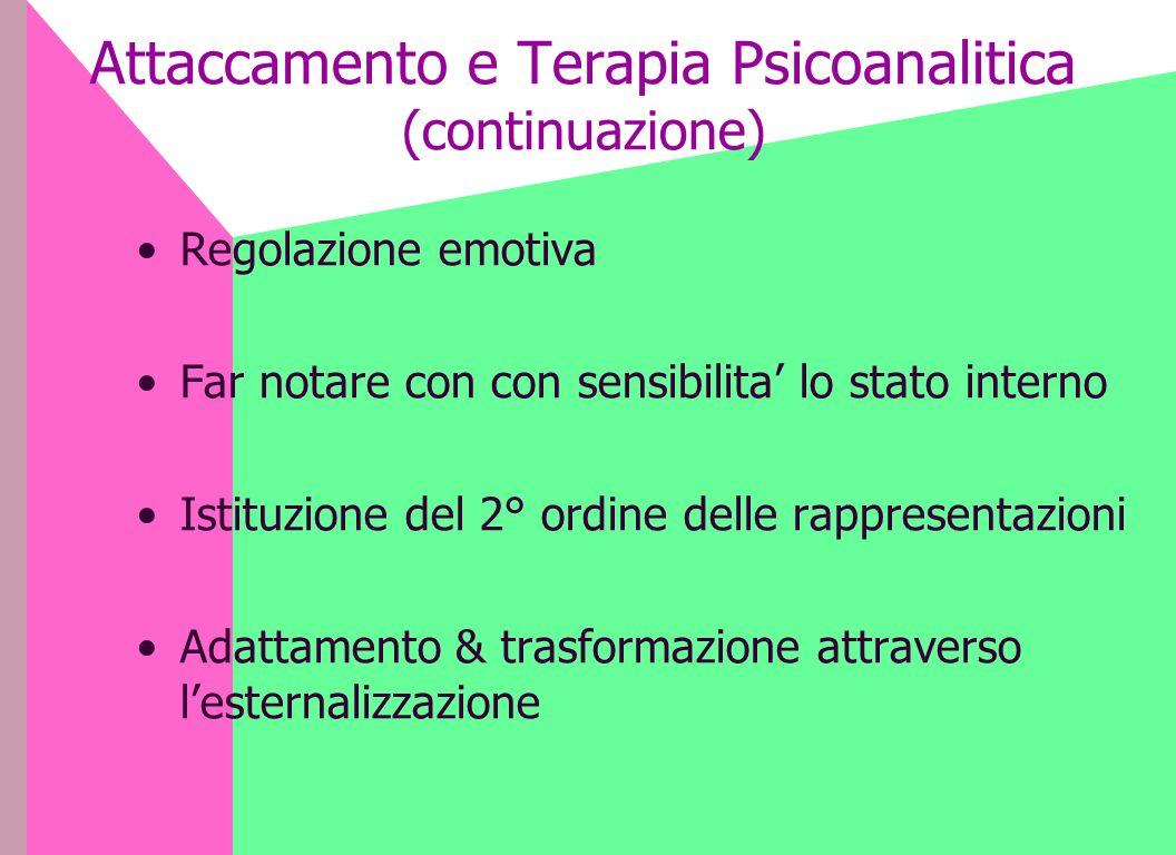 Attaccamento e Terapia Psicoanalitica (continuazione)