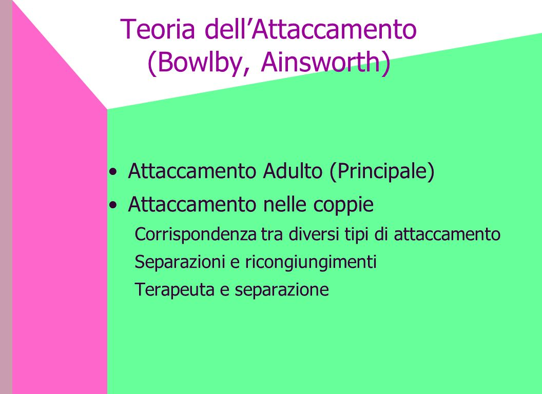 Teoria dell'Attaccamento (Bowlby, Ainsworth)