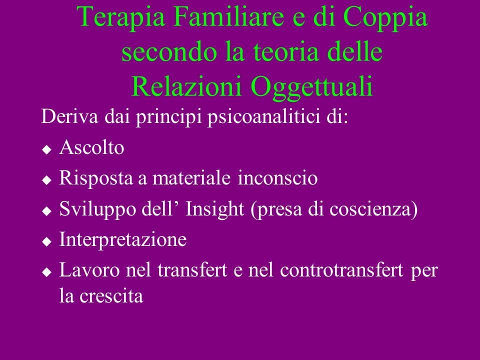 Terapia Familiare e di Coppia secondo la teoria delle Relazioni Oggettuali