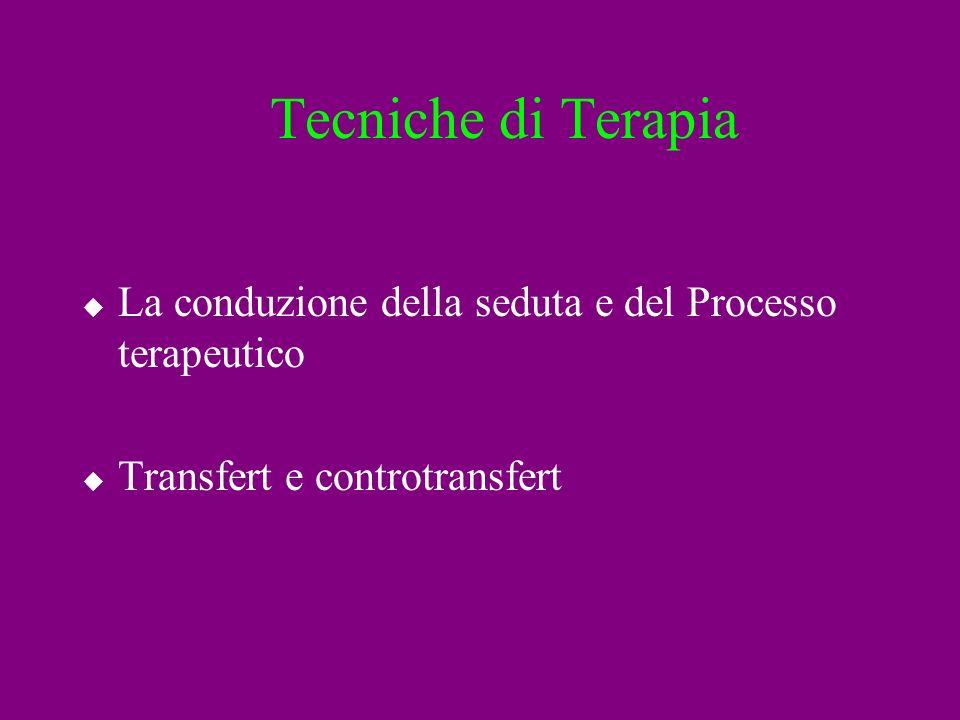 Tecniche di Terapia La conduzione della seduta e del Processo terapeutico.