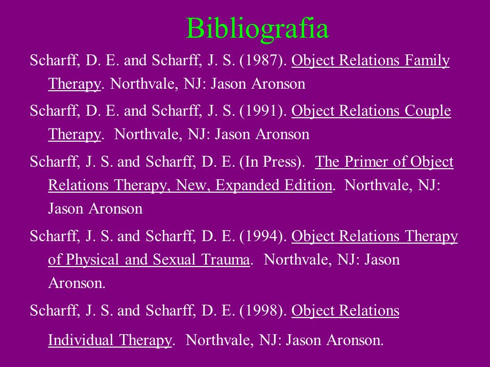 Bibliografia Scharff, D. E. and Scharff, J. S. (1987). Object Relations Family Therapy. Northvale, NJ: Jason Aronson.
