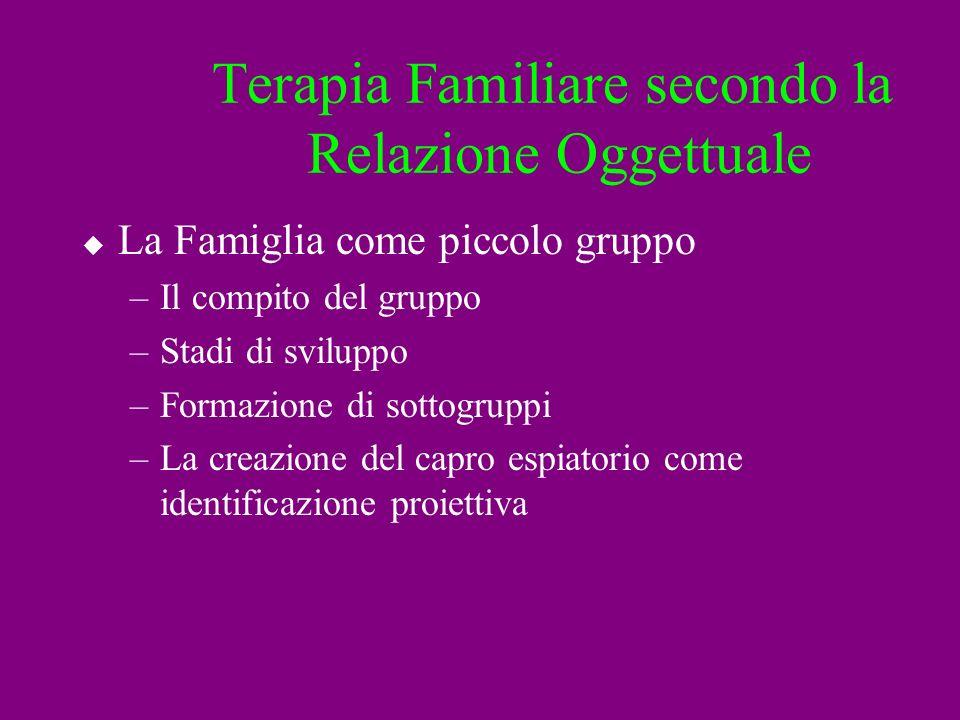 Terapia Familiare secondo la Relazione Oggettuale