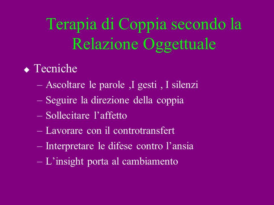 Terapia di Coppia secondo la Relazione Oggettuale