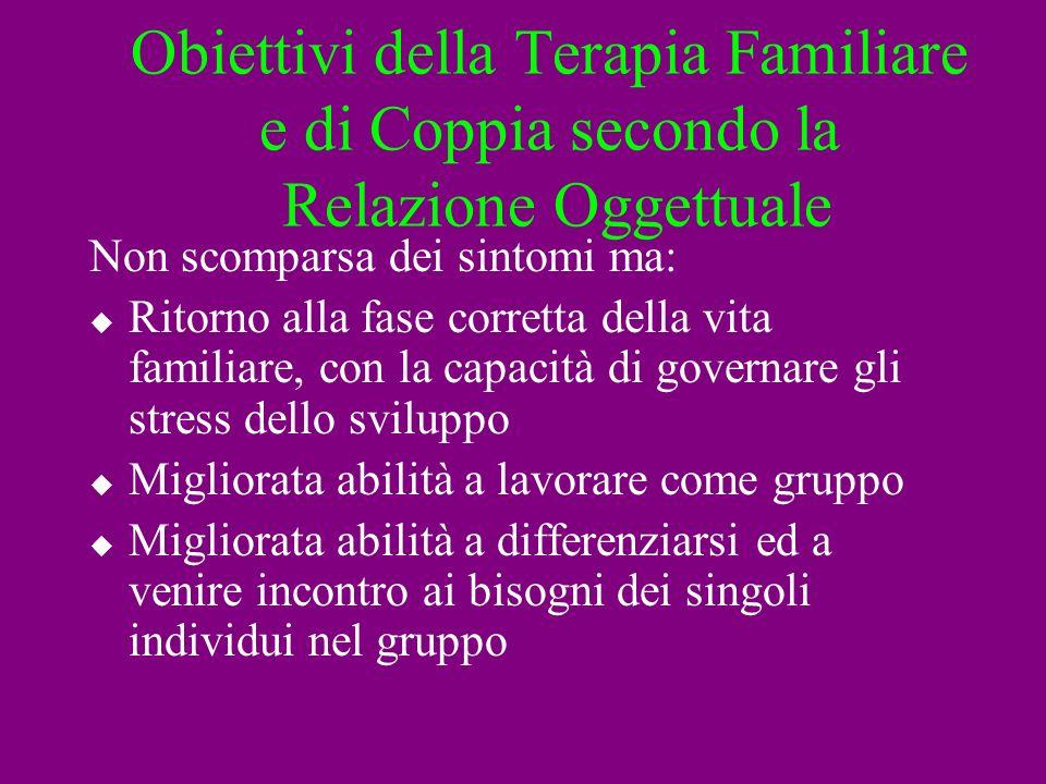 Obiettivi della Terapia Familiare e di Coppia secondo la Relazione Oggettuale