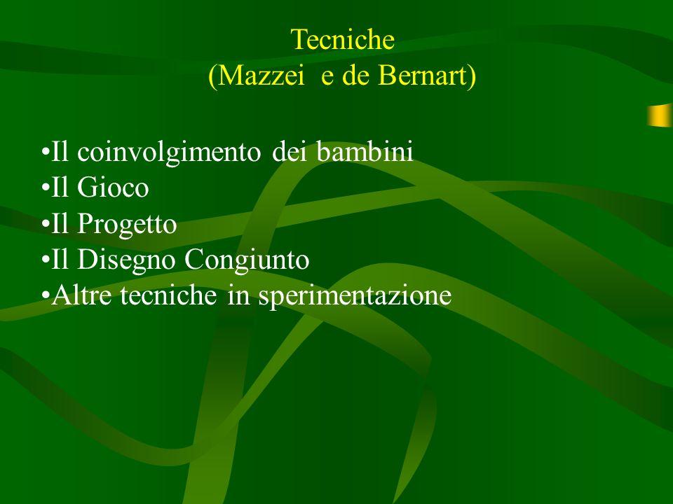 Tecniche (Mazzei e de Bernart) Il coinvolgimento dei bambini. Il Gioco. Il Progetto. Il Disegno Congiunto.