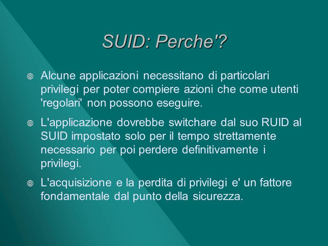 SUID: Perche Alcune applicazioni necessitano di particolari privilegi per poter compiere azioni che come utenti regolari non possono eseguire.