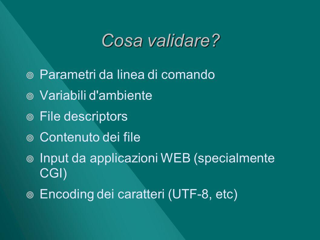 Cosa validare Parametri da linea di comando Variabili d ambiente
