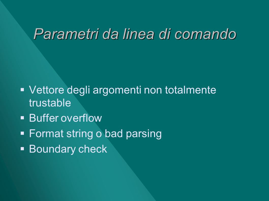 Parametri da linea di comando