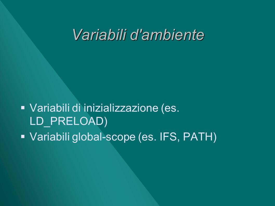 Variabili d ambiente Variabili di inizializzazione (es. LD_PRELOAD)