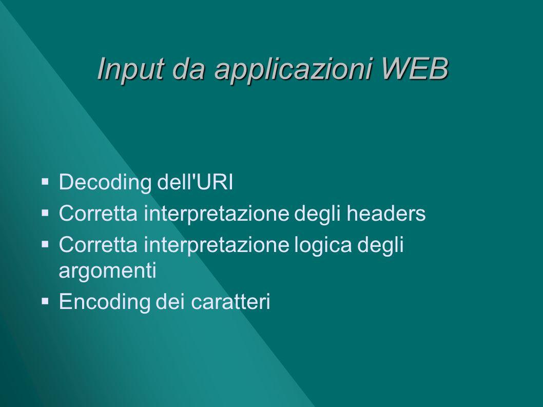 Input da applicazioni WEB