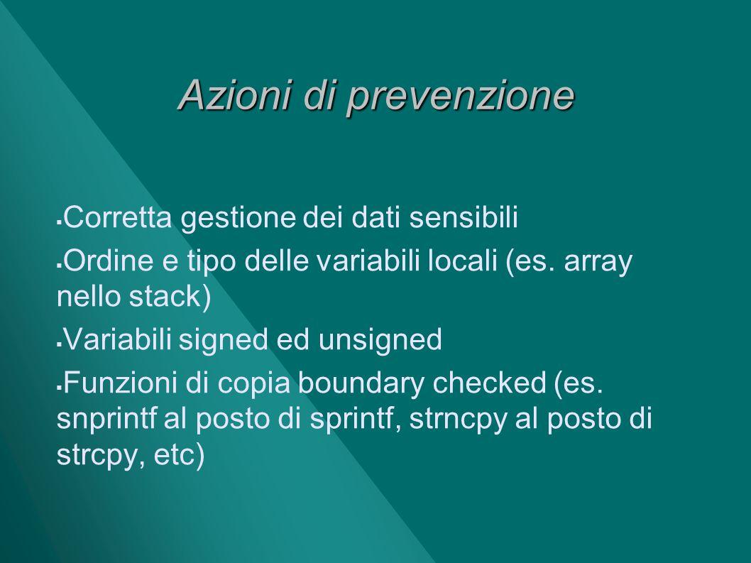 Azioni di prevenzione Corretta gestione dei dati sensibili