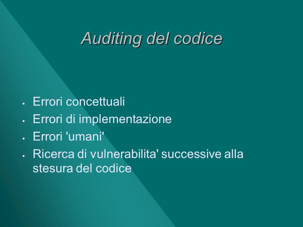 Auditing del codice Errori concettuali Errori di implementazione