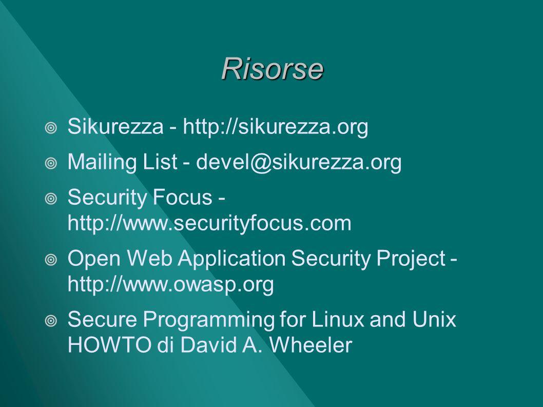 Risorse Sikurezza - http://sikurezza.org