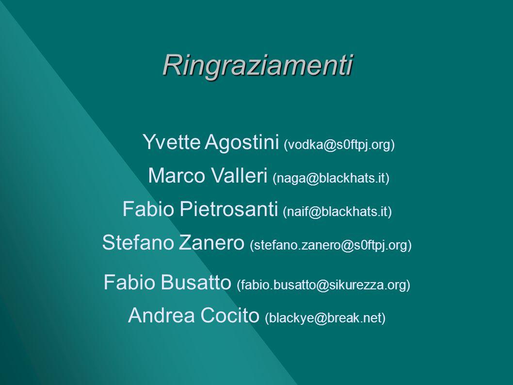 Ringraziamenti Yvette Agostini (vodka@s0ftpj.org)