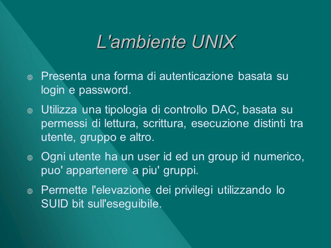 L ambiente UNIX Presenta una forma di autenticazione basata su login e password.