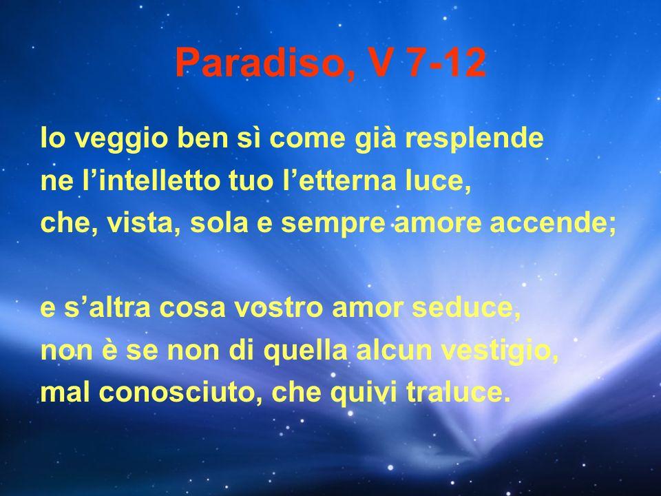 Paradiso, V 7-12 Io veggio ben sì come già resplende