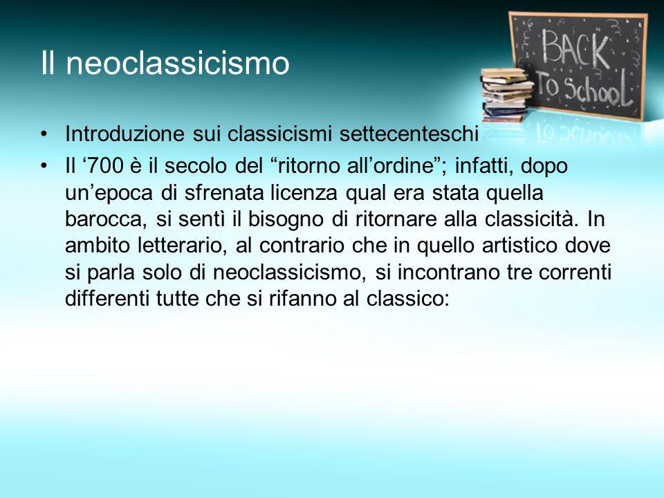 Il neoclassicismo Introduzione sui classicismi settecenteschi